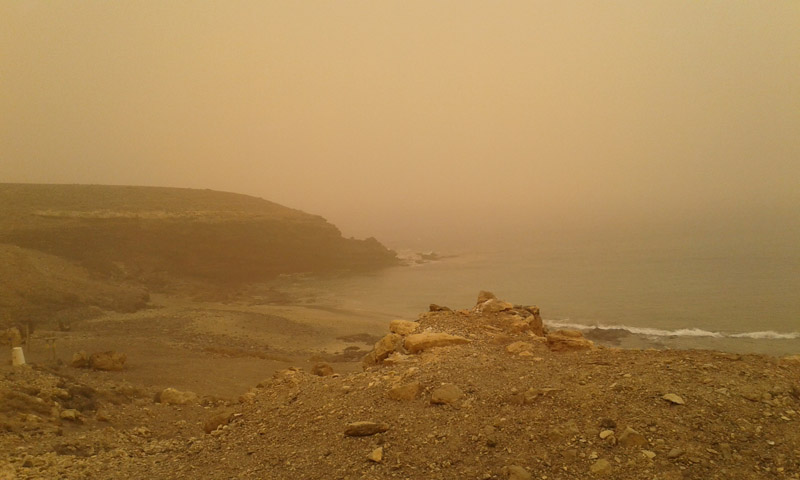 sand strom while recording in Fuerteventura